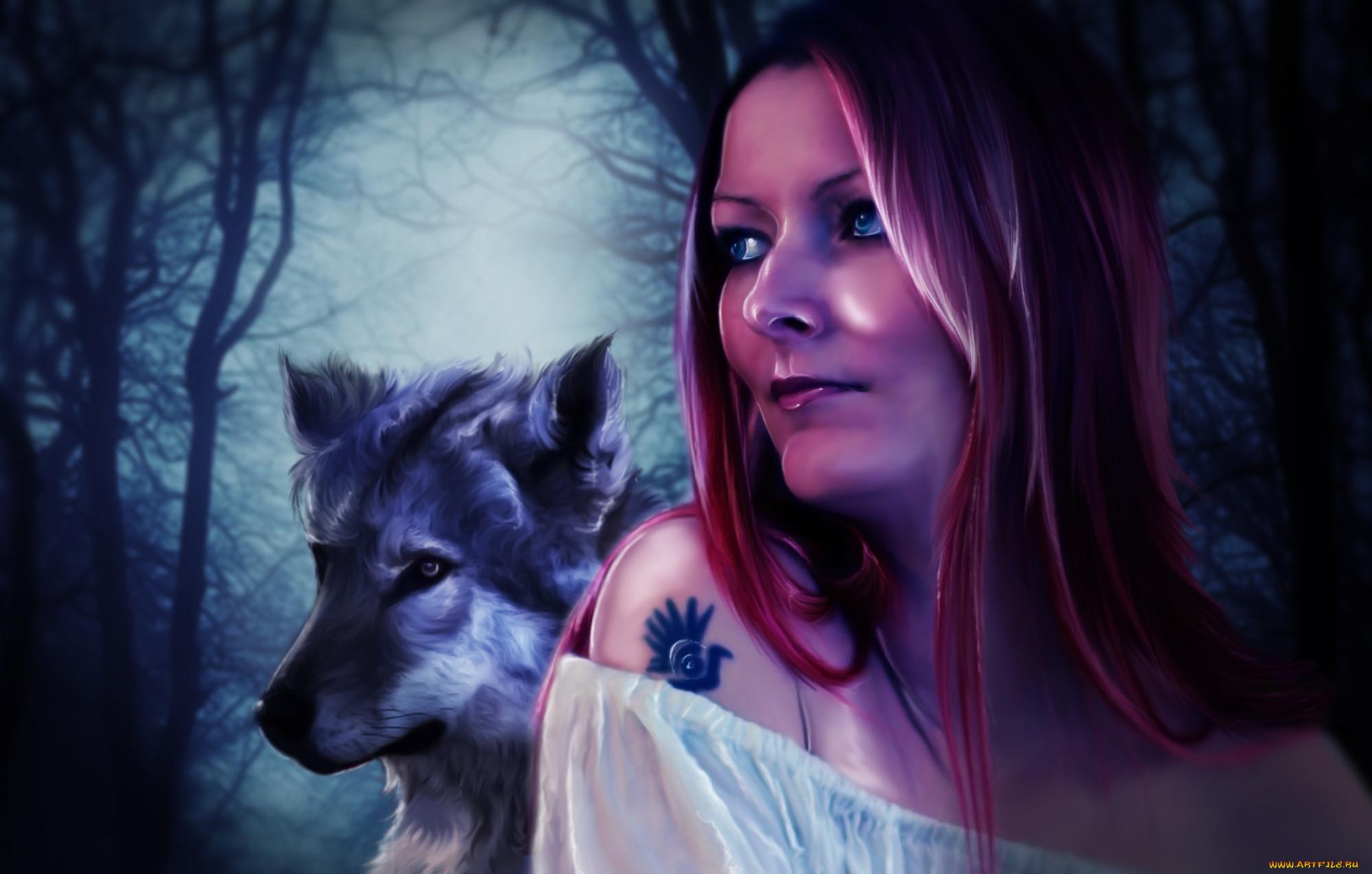 Картинки девушка и волк на рабочий стол